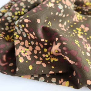 Watercolour Field Dark Olive Viscose Poplin Fabric