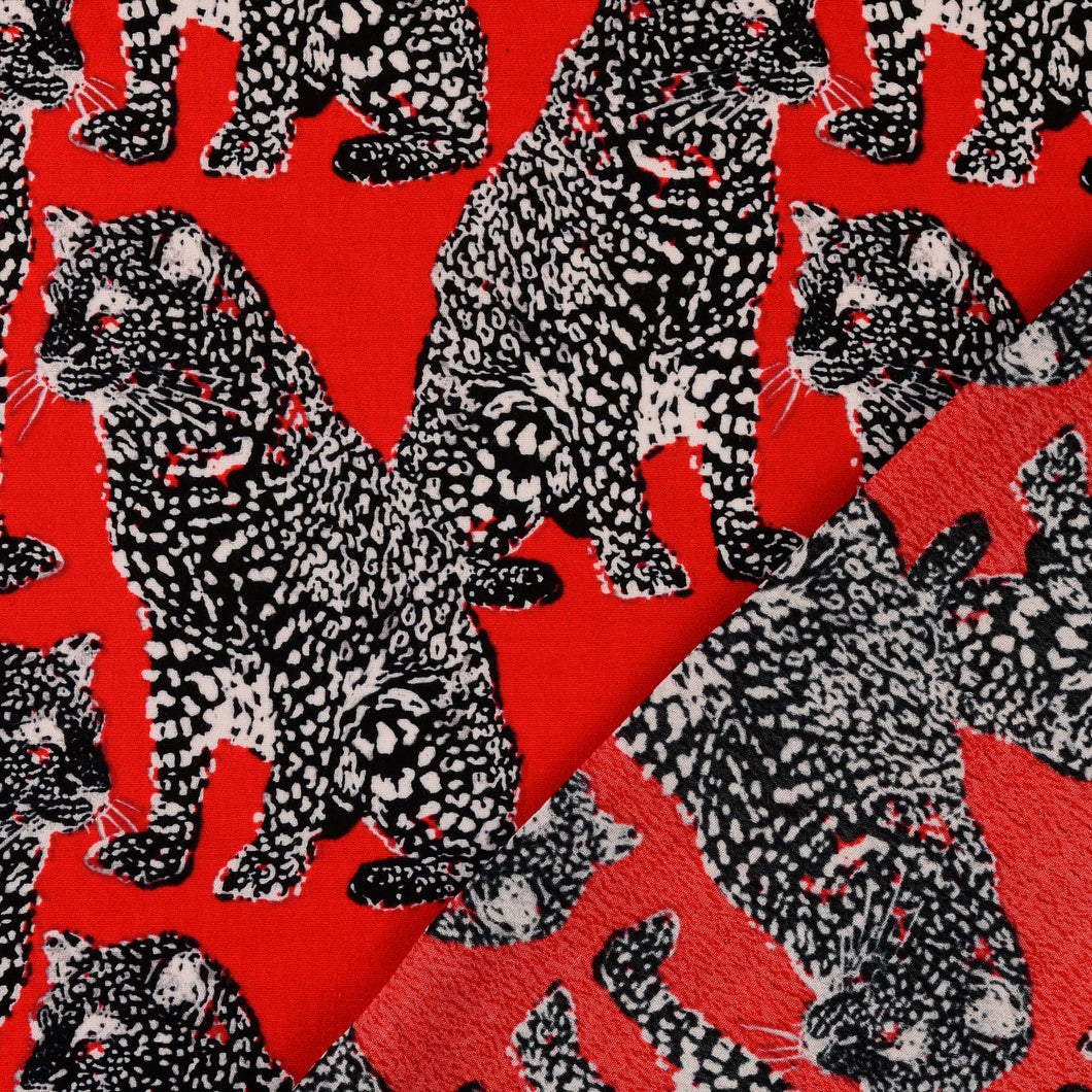 Leopard Red Viscose Crepe Dress Fabric
