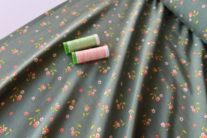 Ditsy Flowers Sage Green Lyocell Modal Jersey Fabric
