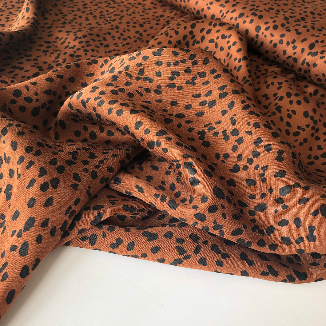 Speckles Cinnamon Brown Viscose / Rayon Dress Fabric