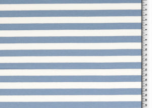 Blue Stripes Looped Back Cotton French Terry