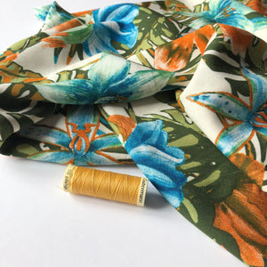 Tropic Flowers Viscose Dress Fabric