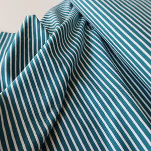 Teal with White Small Stripe Cotton Jersey