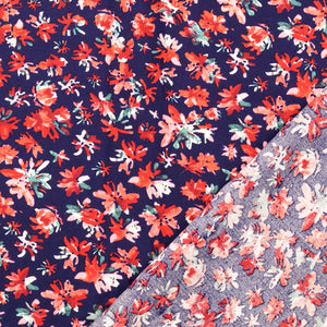 Meadow Navy Viscose Poplin Fabric