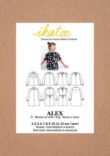Ikatee - ALEX Dress / Blouse - Ages 3-12  Paper Sewing Pattern