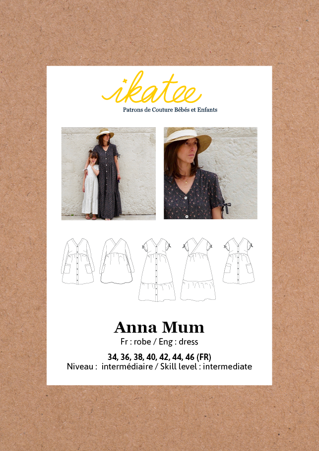 Ikatee - ANNA MUM Dress Paper Sewing Pattern