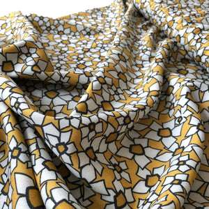 REMNANT 1.23 meters Danish Design - Stenciled Daisies Rayon Dress Fabric