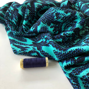REMNANT 0.94 meters Danish Design - Snakeskin Turquoise Rayon Dress Fabric