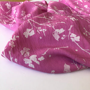 REMNANT 2.53 meters Twigs Pink Viscose Crepe Dress Fabric