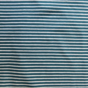 Teal with White Small Stripe Cotton Jersey Fabric