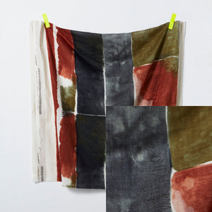 Nani IRO - Chant Et Poesie B Burn Umber and Grey Double Gauze Fabric