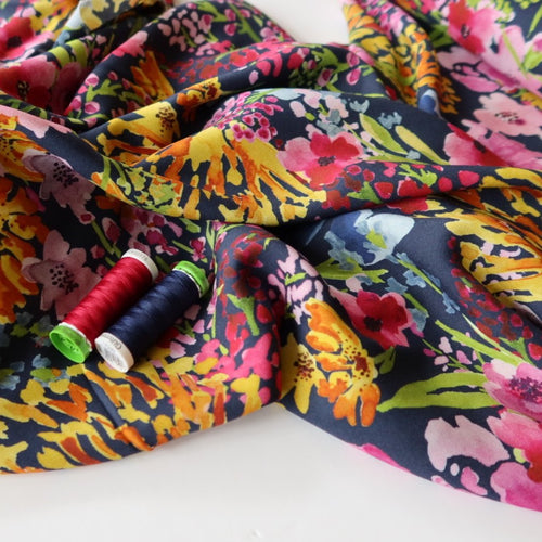 Watercolour Meadow Woven Viscose Fabric