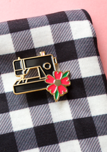 Crafty Pinup - Black Sewing Machine and Flower Enamel Pin