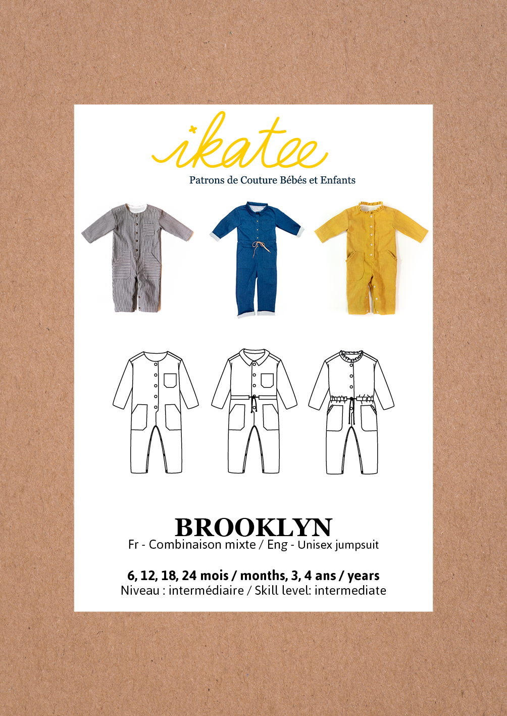Ikatee -  Brooklyn Jumpsuit 6m - 4 years - Paper Sewing Pattern