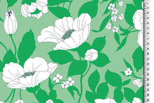 Beautiful Blooms Green Rayon / Viscose Dress Fabric