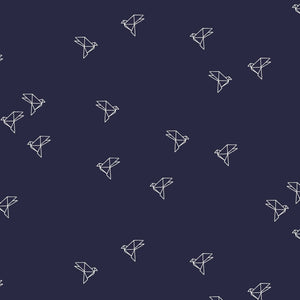 Atelier Brunette - Bye Bye Birdy Navy cotton cambric dress fabric