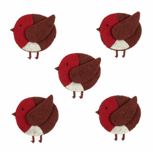 Felt Robins with sticky pad- for cards, gift bags or table scatter decorations