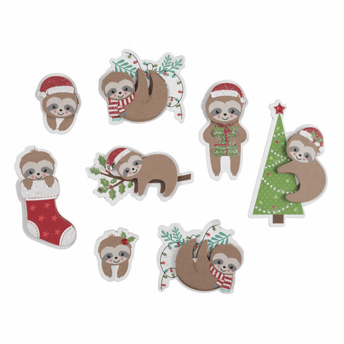 Festive Sloths Stickers - for cards, gift bags or table scatter decorations