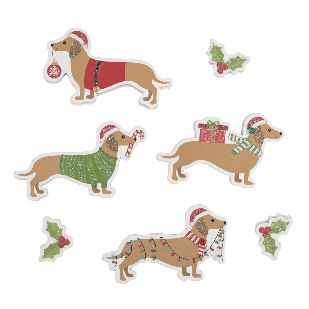 Festive Sausage Dog Stickers - for cards, gift bags or table scatter decorations