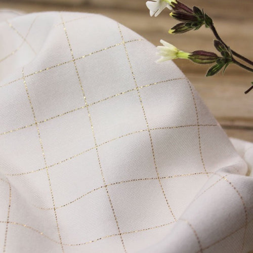 Églantine & Zoé - Mother of Pearl With Gold Checked Viscose Twill Fabric