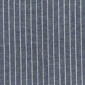 Navy Yarn Dyed Linen Viscose Blend Striped Fabric