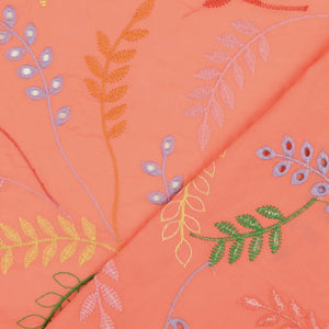 Fantasy Leaves Coral Cotton Broderie Anglaise