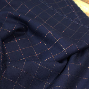 Églantine & Zoé - Navy Blue With Copper Checked Viscose Twill Fabric