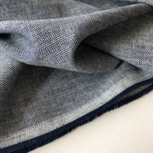 Dark Navy Linen Cotton Twill Stripes