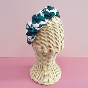 Adornments By Rosheen - Mind the Maker Terrazzo Teal & Urban Leo Green on Rose Viscose Twill Mixed Plait Headband