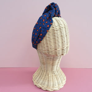 Adornments By Rosheen - Mind the Maker Mini Leo Blue Viscose Twill Oversized Knot Headband