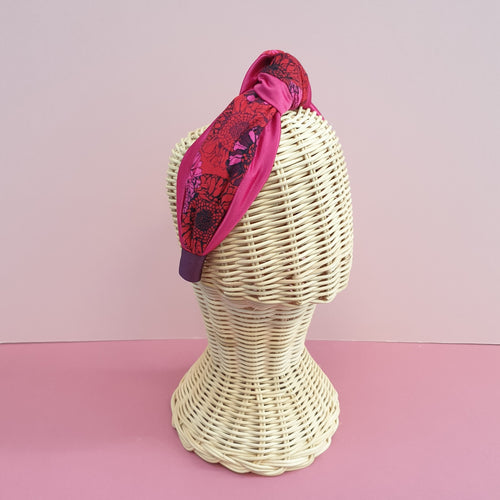 Adornments By Rosheen - Danish Design Sunflowers Magenta Rayon & Fuschia Duchess Satin Mixed Knot Headband
