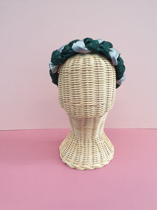 Adornments By Rosheen - Mind the Maker Mini Leo Green Viscose Twill & Grey Satin Mixed Plait Headband