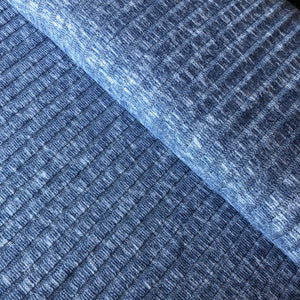 REMNANT 0.85 meter Melange Navy Wide Rib Knit Fabric