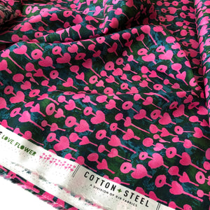 REMNANT 2.98 meters Cotton and Steel - Once Upon a Time Love Flower Rose Rayon