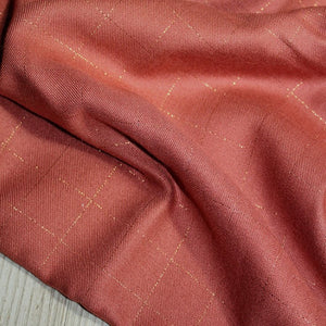 Églantine & Zoé - Terracotta With Copper Checked Viscose Twill Fabric