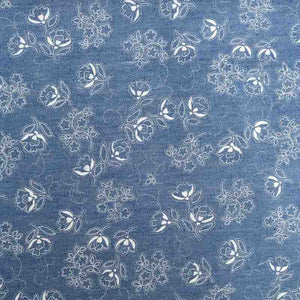 Floral Lightweight Cotton Denim Style Fabric