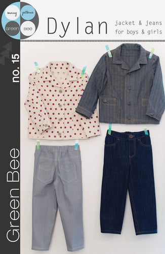 Green Bee -  Dylan Jacket and Jeans for boys or girls Sewing Pattern