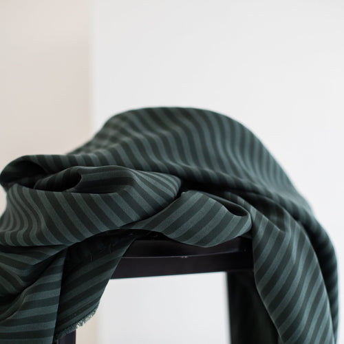 Meet MILK - Two Tone Stripe Twill Deep Green with TENCEL™ Lyocell fibers