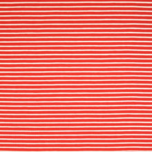 Red With White Small Stripe Cotton Jersey