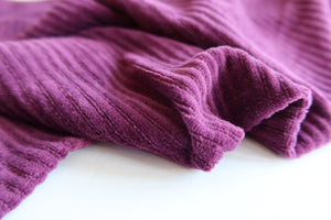 Danish Design - Aubergine Ribbed Velvet Jersey Fabric