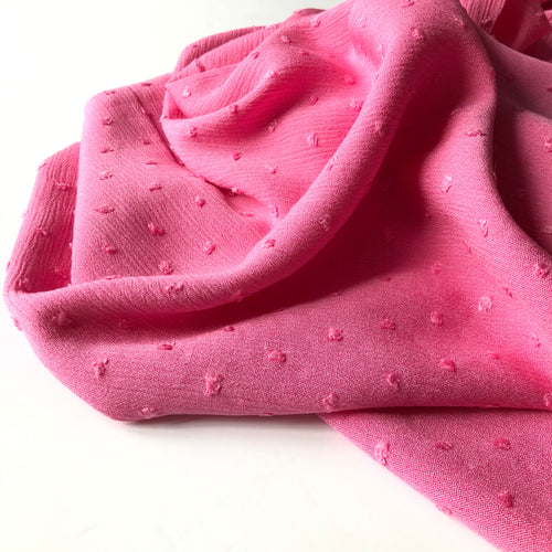 REMNANT 2.30 meters Crinkled Dotty Viscose Pink