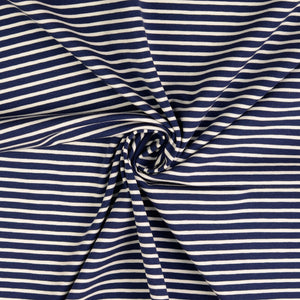 Navy With White Small Stripe Cotton Jersey