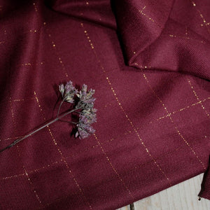 Églantine & Zoé - Burgundy With Copper Checked Viscose Twill Fabric