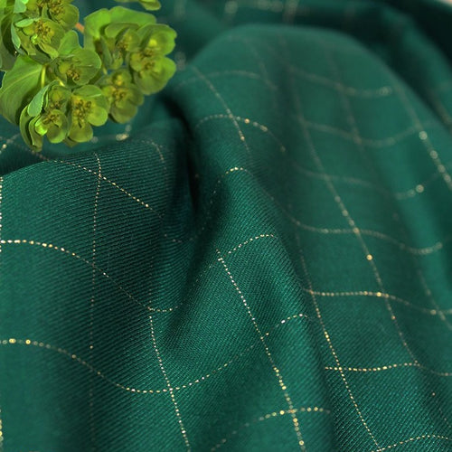 Églantine & Zoé - Meadow Green With Gold Checked Viscose Twill Fabric