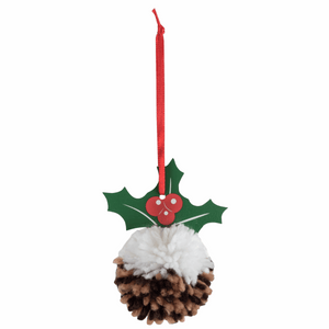 Make your own - Pom Pom Christmas Pudding Decoration