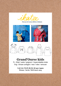 Ikatee - GRAND'OURRSE KIDS Coat/Vest/ Cardigain/Robe  3-12 Years - Paper Sewing Pattern