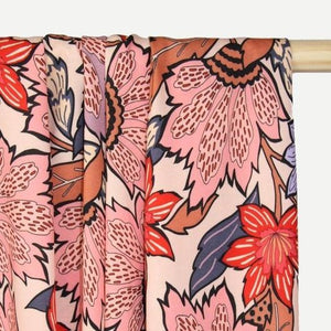 Atelier Jupe - Soft Pink Viscose with Large Flower Print