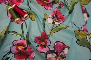 Lady McElroy - Aqua Orchid Luxury Cotton Lawn Dress Fabric