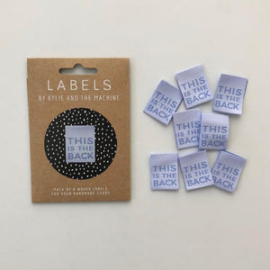 "Kylie and the Machine - ""THIS IS THE BACK - (BLACK PACK) Pack of 8 Woven Labels"