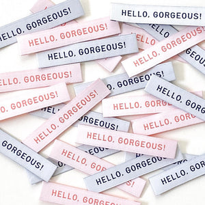 "Kylie and the Machine - ""HELLO GORGEOUS"" Pack of 8 Woven Labels"